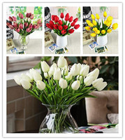 Wholesale pu mini tulip flower real touch wedding flower artificial flower silk flower home decoration