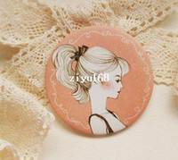 Wholesale NEW Creative cute sweet lovely girl hand round Mirror portable pocket cosmetic mirror make up mirror