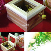 Wholesale T0615 Gold Plated Wooden Hand Crank Music Box Creative gift Birthday present many songs optional carton packaging