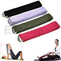 Yoga Balls D5754-BK  free shipping!1pc 6 Foot Yoga Stretch Strap D-Ring Belt Figure Waist Leg Fitness Exercise Gym