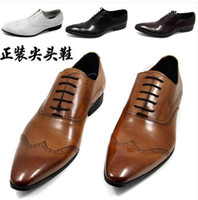 Men Loafers Flat Heel 2014 head layer cowhide British men business do justice shoes pointed lace-up dress shoes