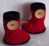 Summer Crochet Boot Mid-Calf HOT sale!Wholesale - Crochet baby snow booties first walker shoes big button cotton yarn 17pairs lot 0-12M free shipping