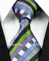 Wholesale 273 GRAY GREEN BLACK STRIP PRI Fashion Brand Jacquard Woven Silk Mens Business Neck Tie Men s Casual Necktie Men