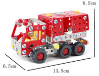 Building Metal Trucks Free Shipping 183pcs set Metal Blocks Set DIY Carrier Loader, Assembling Fire Truck Toy Model,Gifts For Children