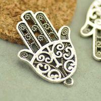 Wholesale silver hamsa hand charms pendant mm antique sp76