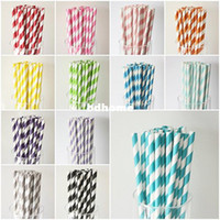 Wholesale red yellow pink black blue green beige striped paper straw drinkware event amp party supplies