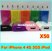 For Apple iPhone Car Chargers A.C. Source HOT SALE! High quality new 50pcs lot EU US Plug 5V 1A AC Power USB Wall Charger For iPhone 4 4S 3GS i