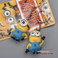 Cheap Anime Cartoon Movie Despicable Me 2 Minions 3D Mini Keychains Key Ring PVC Action Figure Toys Dolls 2pcs set DSFG078