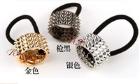 Wholesale European Punk Style Gold Plated Alloy Rivets Opened Hair Clips Hair Bands Pieces
