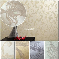 Wholesale High Quality M Embossed Damask Glittering Non Woven Flocking Wallpaper Wall Paper Rolls For Living Room Bedroom Colors