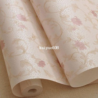 Wholesale 10M Warm Sweet Floret Wallpaper Rolls Environmental Wall Paper For Living Room Bedroom Purple Pink