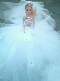 Wholesale Free Delivery Real images White Floor Length Beaded Ball Gown Bridal Barbie Doll for Wedding Events Table Supplies Ceremony Decoration