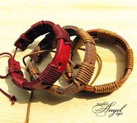 Wholesale Mens Bracelets Wrap Multilayer Genuine Leather Bracelet with Braided Rope wristband Fashion Jewelry