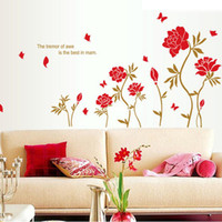 Wholesale 1 Piece Red Peony Flowers Wall Stickers For Home Wall Decoration amp Removable PVC English Quotes Decal Window Glass Gift For Mam