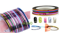 3d nail stickers - Professional Color Rolls Striping Tape Line Nail Art Decoration Sticker New Arrival Nail Tape Stripe Decoration Sticker Hologram