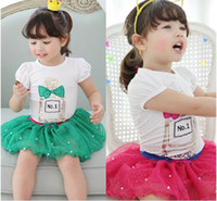 Wholesale Summer Baby Girl Tutu Skirt Set Fashion Perfume Letter T Shirt Short Skirt Children Suit Kids Skirt Set Year Child Clothing GX275