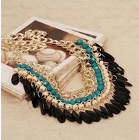 Wholesale Gothic Vintage Women Party Statement Necklace Chains Chokers Tassel Black Water Layers Beaded Jewelry S009