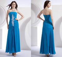 Model Pictures Strapless Chiffon New Arrival 2014 Aqua Blue Chiffion Prom Dresses A-Line Strapless Ankle-Length Sleeveless Pleated Applique Beaded Party Evening Dresses LZ17
