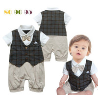 Boy Summer Short Details about Baby Boy Clothes Summer Short Sleeve Plaid Romper Jumper Outfits Bobysuit