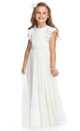Wholesale Jewel Neckline Chiffon Junior Bridesmaid Dresses Flutter Sleeve Shirred Bodice and Attached Ruched Sash Bow Detail at Back Little Girls Gown
