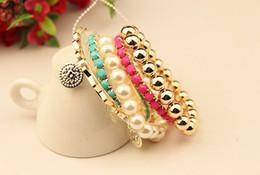 Korea Style Multilayer Pearl Beads Resin Gem Coin Bangle Bracelets