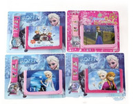 Frozen Anna Elsa Sets Watch and Wallet Purse Kids Fashion Qu...