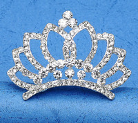 Wholesale Shinning Clear Crystal Diamond Girls Headpieces Hair Jewelry Kids Crown for Flowergirl XN1406