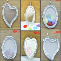 Charms Traditional Charm Hearts, Love Wholesale - 6PCS 50mm sliver floating charm locket with crystals magnetic locket pendant for living locket