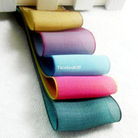 Wholesale 38 mm Wide Double Color Chameleon Design Iridescence Silk Organza Ribbon DIY Craft Bow Hair Accessory Polyester Fabrics m