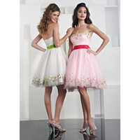 Wholesale Under Colorful Beads Short Tulle Cupcake Sequins Graduation Dresses A line Sweetheart Sleeveless Zipper Back Homecoming Cocktail Gown