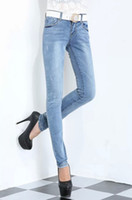 Wholesale 2014 new style women hole jeans long trousers sky blue color straight mid waist zipper fly
