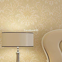 Wholesale High Quality M Embossed Damask Non Woven Flocking Glittering Breath Wallpaper Wall Paper Roll For Living Room Bedroom
