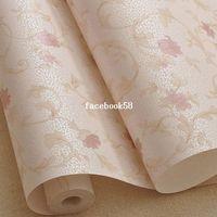 Wholesale 10M Warm Sweet Floret Wallpaper Rolls Environmental Wall Paper For Living Room Bedroom Purple Pink