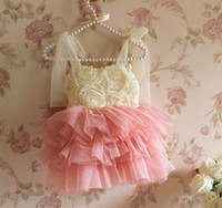 beautiful dresses - Girl Summer Pretty Roses Dresses Lovely Layer Tull Children Dresses Girls Beautiful Party Dresses