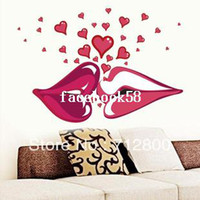 Graphic vinyl PVC Animal Sexy Red Lips Kiss 99*68cm Large Vinyl Wall Stickers On The Walls Bedroom Decorative Wall Stickers Room Decals Sofa Decoration