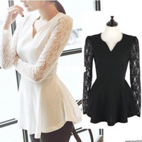 Wholesale TP55 Celebrity Style Long Lace Sleeve V Neck Flared Peplum Women s Top Tees Shirt Plus Size S XXL2014 New