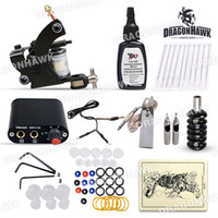 Wholesale Beginner cheap tattoo starter kits gun machine black ink sets equipment power supply disposable needles D1012 DH