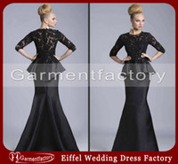 Reference Images Crew Neck Satin Sexy Mermaid Mother of the Bride Dresses 2014 New Arrival Crew Neckline Elbow Length Sleeve Long Black Beaded Lace Peplum Evening Gowns