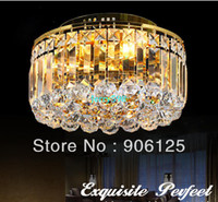 Wholesale 3 Light Crystal Flush Mount Ceiling Lamp Light Gold Finish Guaranteed