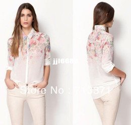 Wholesale Spot early spring new women s s Flower ramp irregular printing long sleeved lapel shirt