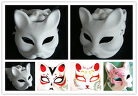 Wholesale FREE DHL Solid white Half face DIY Fox Pulp Paper Mask Novelty Blank Halloween Party Masquerade Masks Students Drawing Graffiti Material