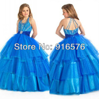 Halter Blue Long Ball Gowns Big Poofy Dresses For Kids