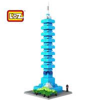 Plastics plastic windmill toy - LOZ famous architecture building blocks sets eductional children toys Temple of Heaven Taipei Windmill