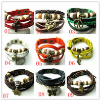 Wholesale Fashion PU Bracelet Cross Butterfly Flower Music symbol Leather Bracelet Womens Mens Multilayer Leather Wrap Bracelet Charm Bracelet