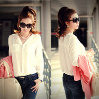 Wholesale Trendy Womens Solid Long Sleeve OL Career Chiffon Tops Button Down s Shirt HR613 Drop Freeshipping