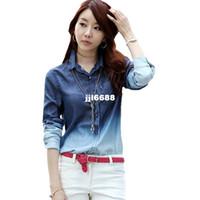 Wholesale TC women clothing blue color autumn summer women s gradient women long sleeve denim shirt women hot selling