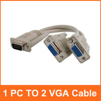 Wholesale 1 PC TO VGA SVGA MONITOR Y SPLITTER CABLE PIN VGA Male to VGA Female DHL