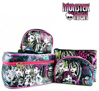 Wholesale New Arrival Cosmetic Bag Set Monster High Cartoon Pattern Little Luggage And Suitcases Microfiber Nylon Makeup Bags Suits G0414