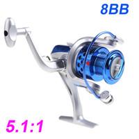 2015 8BB Cuscinetti a sfera ST4000 5.1: 1 bobina di pesca a sinistra / destra intercambiabile pieghevole Handlle pesca Spinning Reel DHL H10520