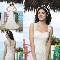 Trumpet/Mermaid Reference Images Square 2014 Summer Beach Mermaid Wedding Dresses Elegant Square Neck Sleeveless Lace Applique Floor Length Cheap Bridal Gowns Sincerity 3770